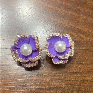NEW Purple Flower Earrings